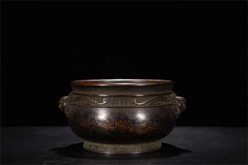 A Chinese Bronze Incense Burner with Silver Inlaid