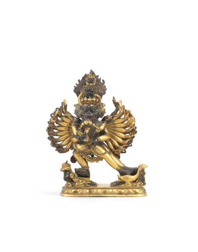 Tibet, 18th century A gilt-bronze figure of Vajrabhairava