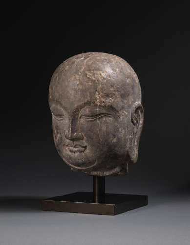 Tang Dynasty A rare carved black limestone head of a luohan