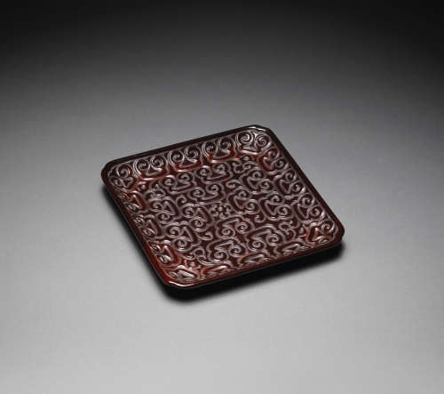 Ming Dynasty A carved tixi lacquer square tray
