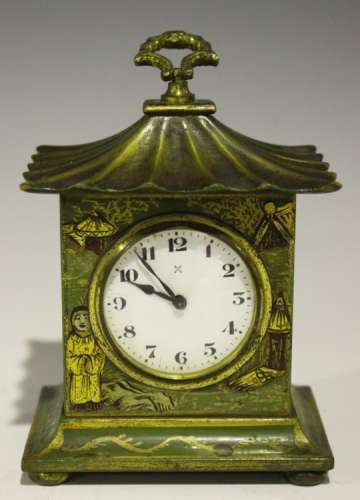 An early 20th century chinoiserie cased mantle timepiece with German movement, the enamel dial