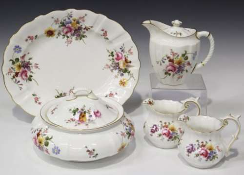 A Royal Crown Derby 'Derby Posies' pattern part service, including two oval platters, ten dinner
