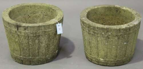 A pair of late 20th century cast composition stone garden urns of faux coopered form, height 30cm,