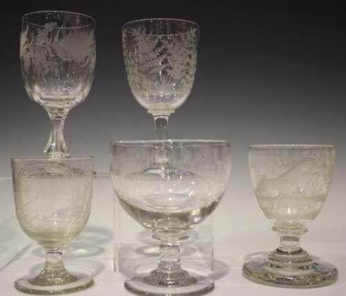 Five engraved glass rummers, 19th century, including one with a continuous scene of a greyhound