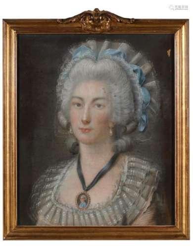 Ecole française XVIIIe. Portrait de jeune femme au…