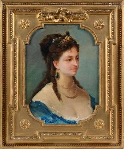 Ecole française fin XIXe. Portraits de femme Paire…
