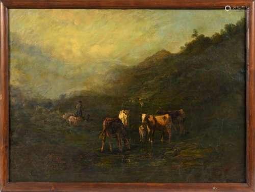 Andrés CORTÉS (1810 1879). Les Vaches. Huile sur t…