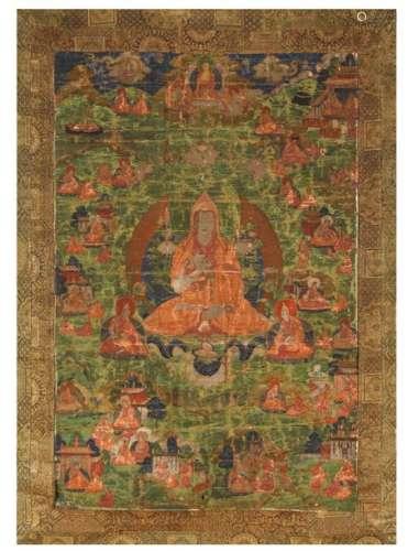 Thangka en couleurs sur textile représentant Tsong…