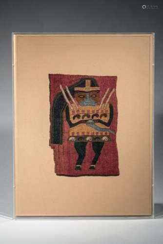 Fragment de tissu représentant un chamane Coton po…