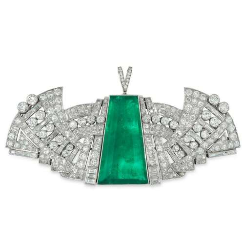 A 50.35 CARAT COLOMBIAN EMERALD AND DIAMOND PENDANT /