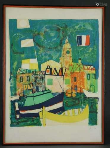 Paul Aizpiri. Litho. Bateaux Dans Le Port. 1972.