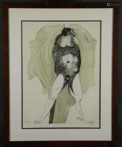 Leonard Baskin. Etching. Hung Crow. 1990. 17/50.