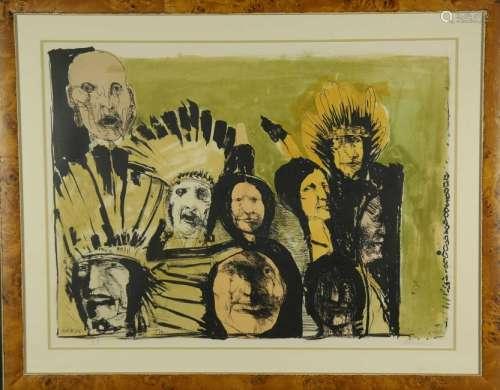 Leonard Baskin. Lithograph. Indian Faces. 1974.