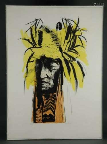 Leonard Baskin. Lithograph. Lean Wolf. 1973.