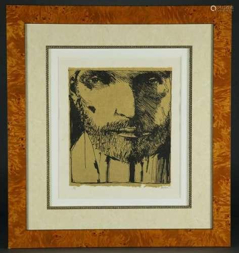 Leonard Baskin. Self-Portrait. Artist's Proof.