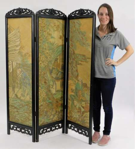 19C. Chinese 3 Panel Hand Painted Screen