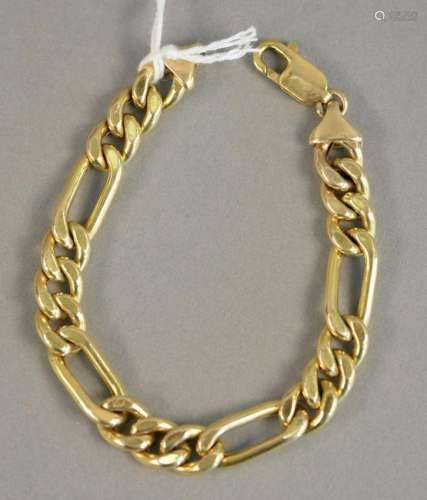 14K gold bracelet with large links, 7 1/4 in., 14.4