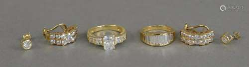 14K gold lot to include two rings and two pairs of