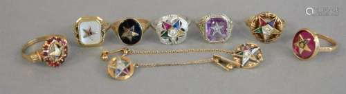 Gold group to include six 10K gold rings with stones,
