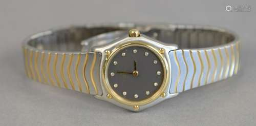 Ebel womans wave gold steel and diamond wristwatch