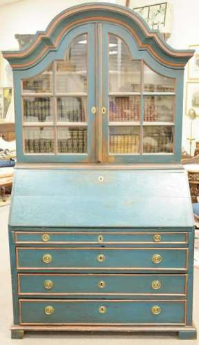 Oak, continental secretary desk in two parts, painted