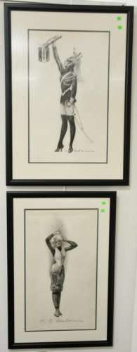 Charles Sheldon (1889-1960), charcoal on paper, set of