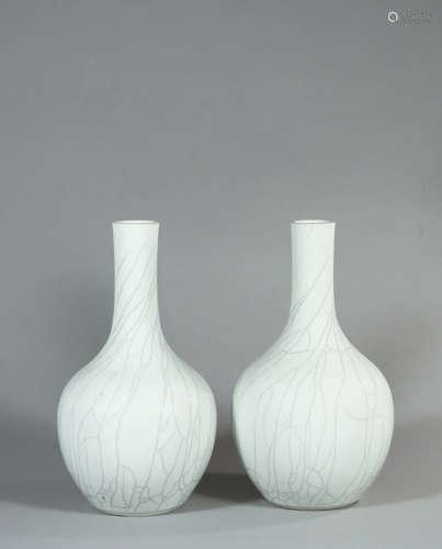 19世紀 仿官釉膽瓶(一對)