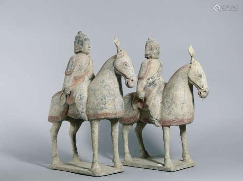 北齐 古陶戰士骑马像 一对