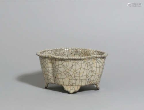 19世紀 仿官釉小花盆