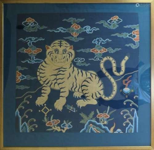 Chinese Kesi Silk Panel With Tiger