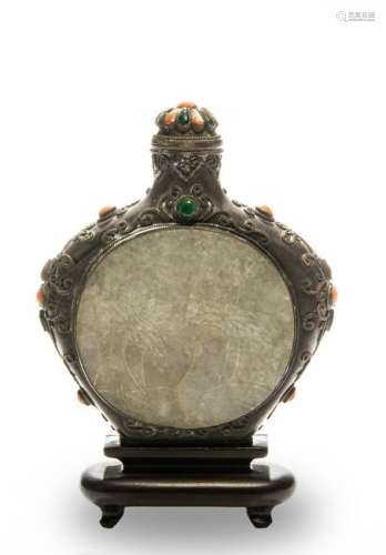 Chinese Metal Snuff Bottle with Jadeite, 19th Century