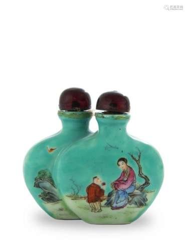 Chinese Porcelain Twin Snuff Bottle, 19th Century