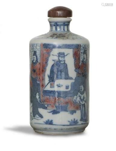 Chinese Blue & Red Underglazed Snuff Bottle,19th C