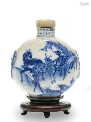 Chinese Blue & White Snuff Bottle, 19th Century