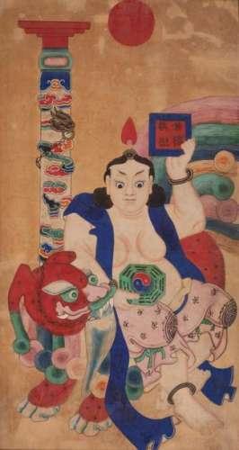 CHINE Buddha dansant , peinture sur papier maroufl…