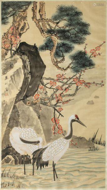 CHINE, XXe siècle. Grande peinture représentant de…