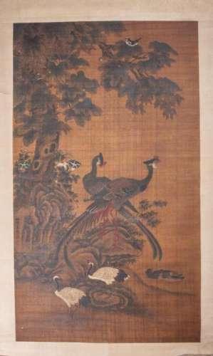 Peinture sur soie en rouleau représentant des couples d'oiseaux, phoenix, grues, [...]