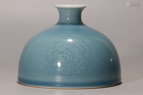 A Chinese Blue Glazed Porcelain Vase
