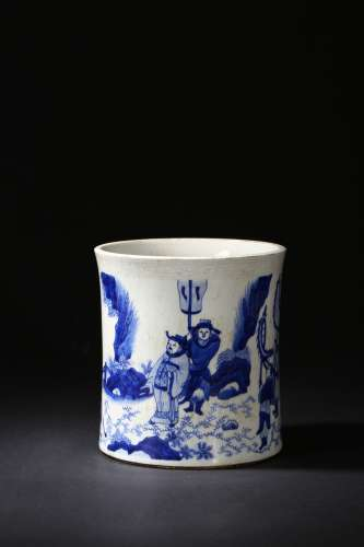 A BLUE AND WHITE 'FIGURES' BRUSHPOT