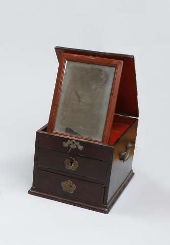 A HARDWOOD MIRROR BOX