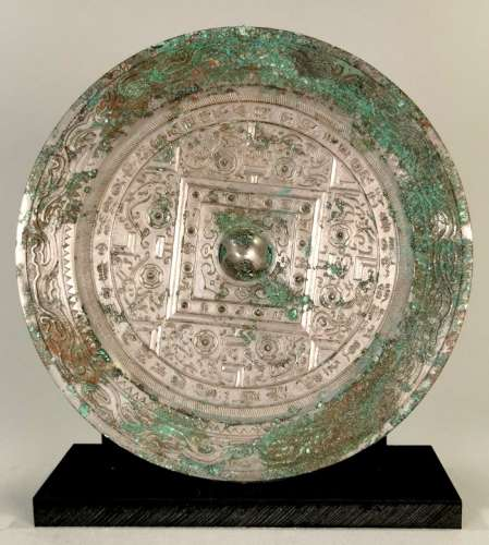 ANCIENT CHINESE BRONZE MIRROR ON STAND