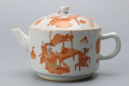 A Chinese Iron-Red Glazed Porcelain Tea Pot