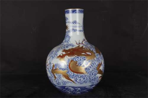 A Chinese Iron-Red Glazed Blue and White Porcelain Vase