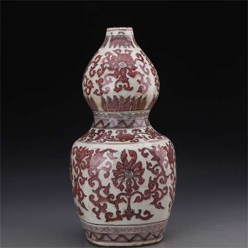 A Chinese Iron-Red Glazed Porcelain Double Gourd Vase