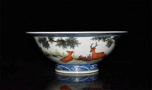 A Chinese Famille-Rose Porcelain Stem-Bowl