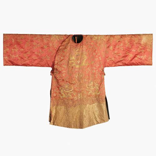 A Red 'Dragon' Silk Robe