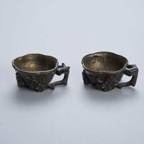 A Pair of Zitan Libation Cups