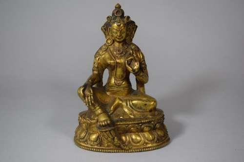 Tibet, XVIIIe XIXe siècle. \nSujet en bronze doré r…