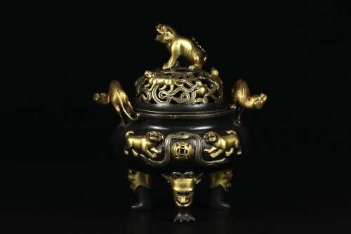 A Parcel Gilt Bronze Censor Qianlong Mark Qing dynasty