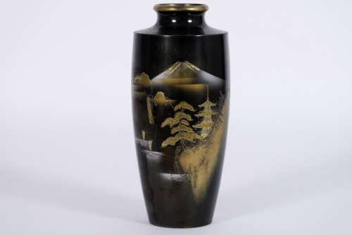 Antieke Japanse vaas in brons met zilver en goud e…